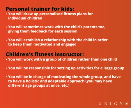 personal trainer for kids: differences between children's personal trainer and children's fitness instructor