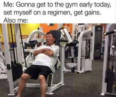 Fitness memes: sleeping at the gym meme
