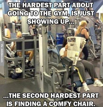 Fitness memes: finding a chair at the gym meme