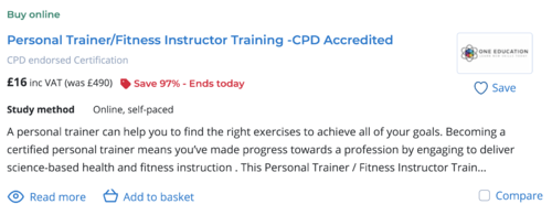 Personal trainer course costs image