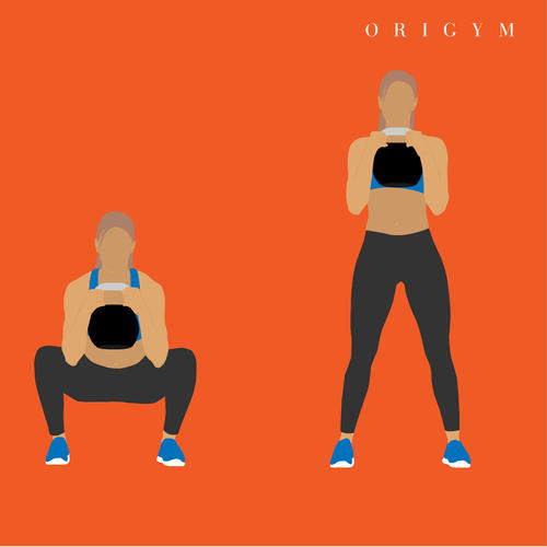 how to get a summer body: kettlebell squat graphic