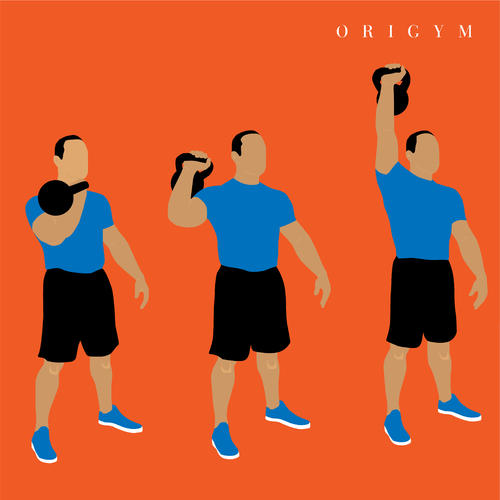 how to get a summer body: kettlebell press graphic