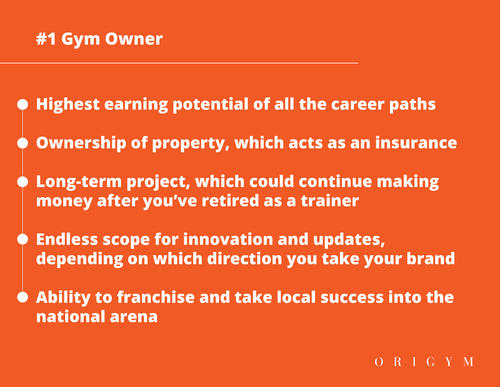 Highest paying fitness jobs: gym owner graphic