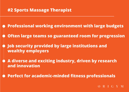Highest paying fitness jobs: sports massage therapist graphic