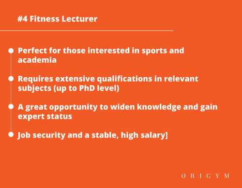 Highest paying fitness jobs: fitness lecturer graphic