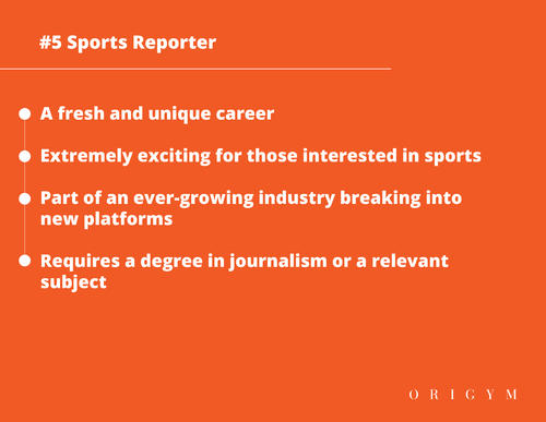 Highest paying fitness jobs: sports reporter graphic