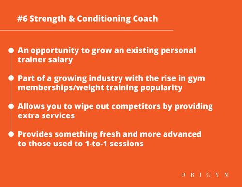 Highest paying fitness jobs: strength and conditioning coach graphic