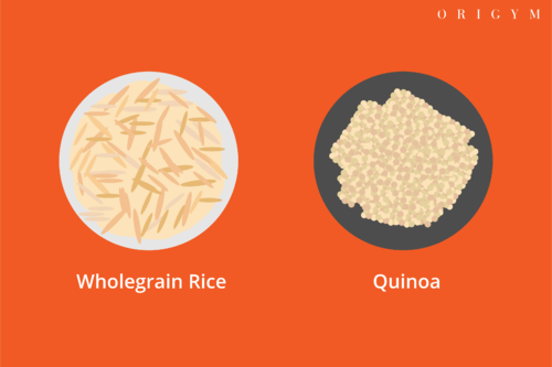 types of body fat: wholegrain rice, quinoa