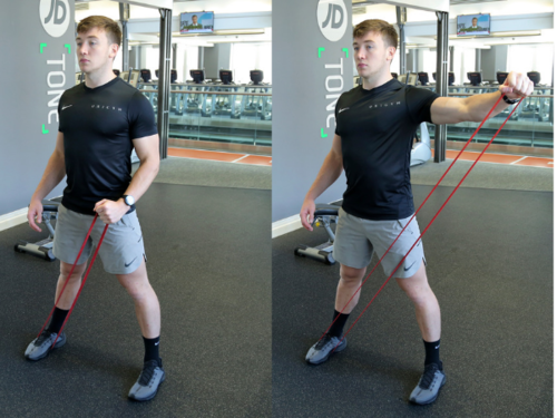 resistance band lateral raise image