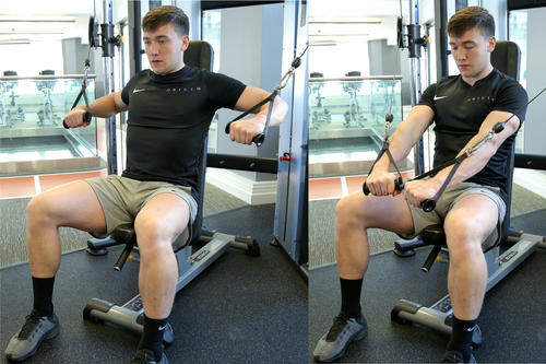 Decline cable chest press (seated) image