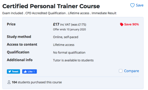 how much does personal trainer certification cost? screenshot of cheap course for comparison