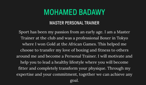 master personal trainer screenshot on webpage