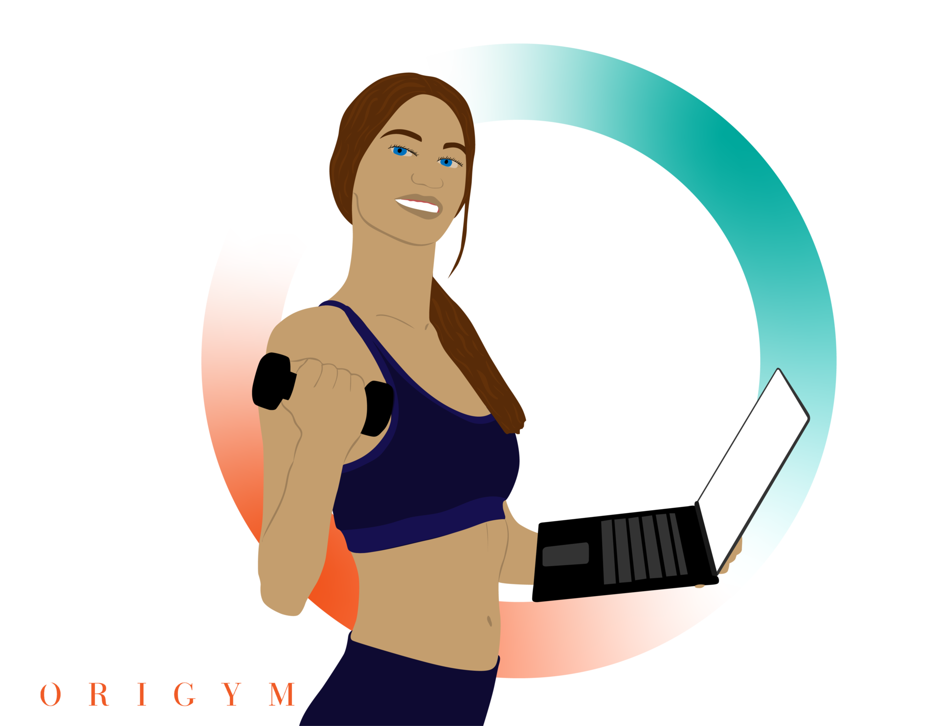 Register PT Business personal trainer holding a laptop and a dumbbell graphic
